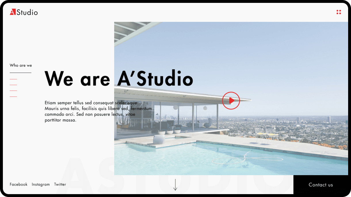 web design AStudio site home page