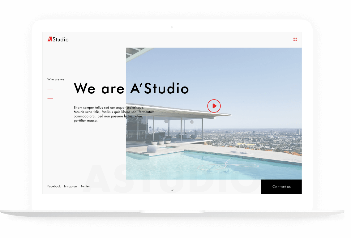 web design AStudio site presentation